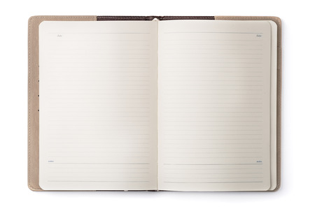 Open notebook isolated on white Stock Photo