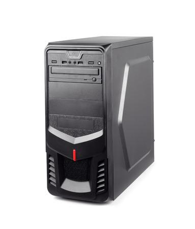 Zwarte computersysteem eenheid geïsoleerd op whte