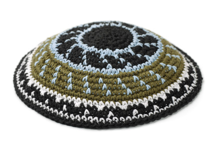 semite: Kippah - traditional jewish headwear isolated on white Stock Photo