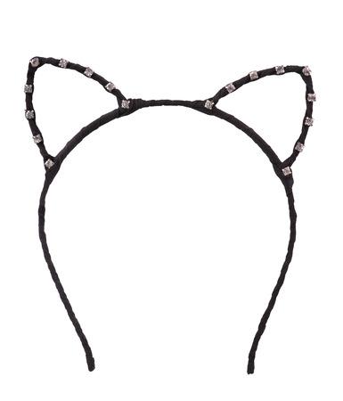 Kat oren vormige haar hoepel op wit wordt geïsoleerd Stockfoto