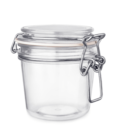 tall glass: Empty glass jar isolated on white