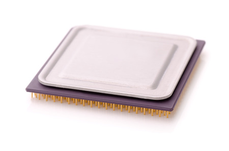 multicore: Central processing unit isolated on white Stock Photo