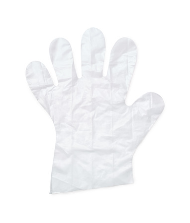 disposable: Disposable plastic glove isolated on white Stock Photo