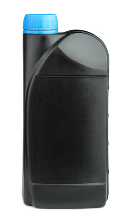 litre: Black plastic bottle of engine oil isolated on white