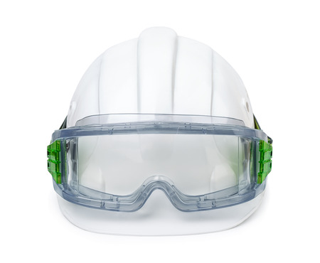 safety goggles: White hard hat and safety goggles isolated on white Stock Photo
