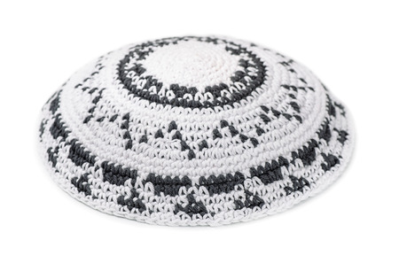 israelite: White knitted jewish yarmulke isolated on white