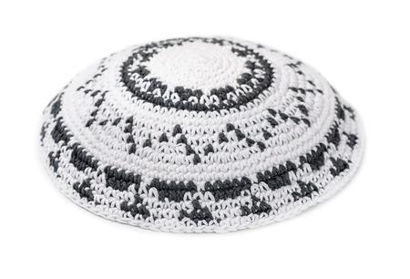 yarmulke: White knitted jewish yarmulke isolated on white