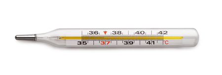 Medical mercury thermometer isolated on white Imagens