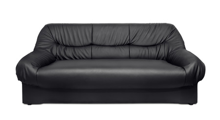 seater: Black leather sofa isolated on white