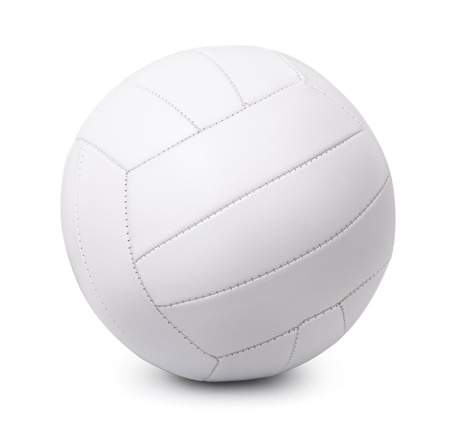 White leather volleyball isolated on white