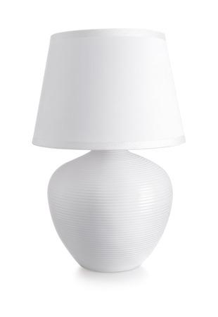 ceramica: Cerámica blanca lámpara de mesa aislada en blanco