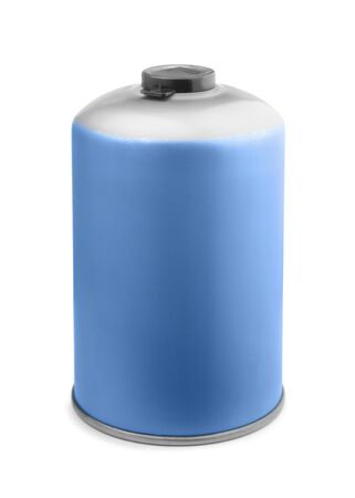 Butane camping gas cartridge isolated on white photo