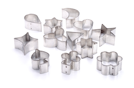 Group of cookie cutters isolated on white Stock Photo