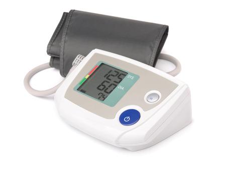 Elektronische bloeddrukmeter geïsoleerd op wit Stockfoto