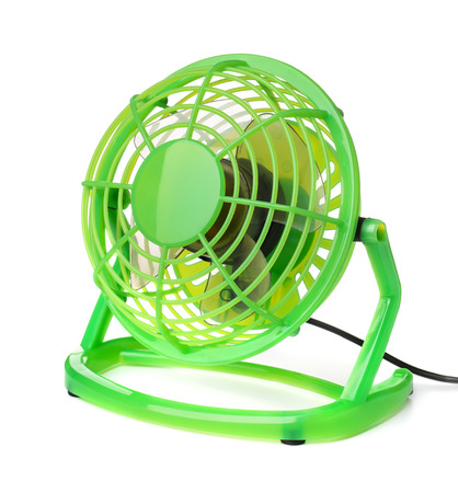 color fan: Green plastic electric fan isolated on white Stock Photo