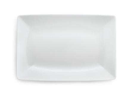 plato de comida: Placa blanca rectangular vac�o aislado en blanco Foto de archivo