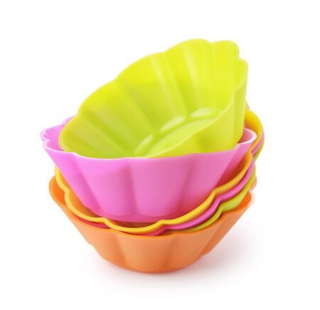 silicone: Silicone baking cups isolated on white Stock Photo