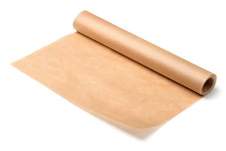 Rol van bakpapier papier geïsoleerd op wit Stockfoto