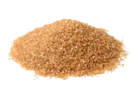 Heap of brown sugar isolated on white Standard-Bild
