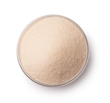 durum wheat semolina: Top view of semolina in glass bowl isolated on white