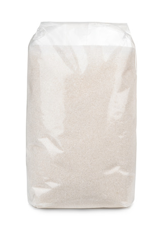 Transparent plastic bag of sugar isolated on white