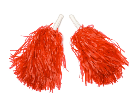 Red pom poms isolated on white Foto de archivo