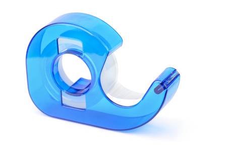 packing tape: Blue adhesive tape dispenser isolated on white