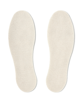 breathable: Cotton shoe insoles isolated on white
