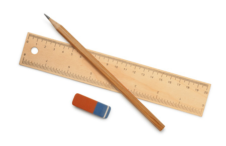 Ruler, pencil and eraser isolated on white Stockfoto