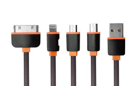 USB-lader kabel connectoren set geïsoleerd op wit Stockfoto - 45943859