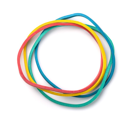 stretchy: Top view of colorful rubber bands isolated on white