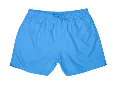 trunk: Blue swim trunks isolated on white