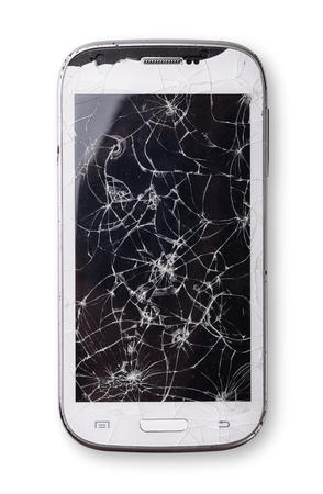 portable failure: Smartphone with broken screen isolated on white