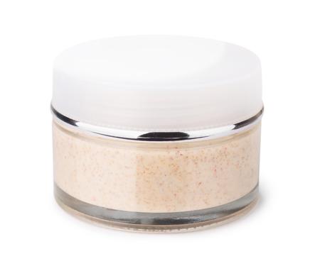 Body scrub jar geïsoleerd op wit
