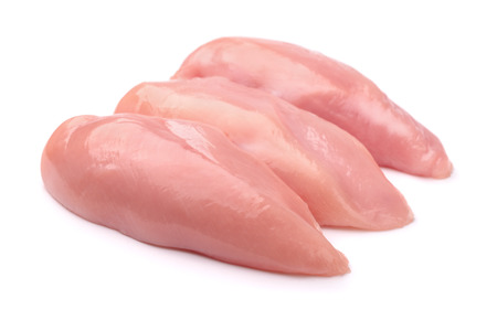 chicken breast: Raw chicken fillets isolated on white