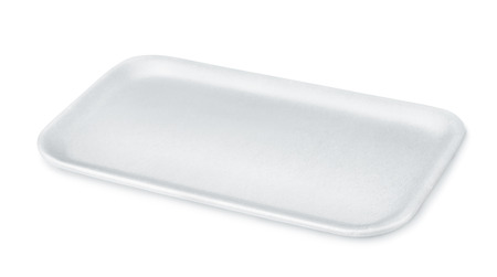 Empty styrofoam food tray isolated