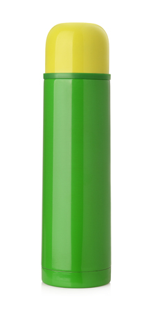 thermos: Green thermos flask isolated on white