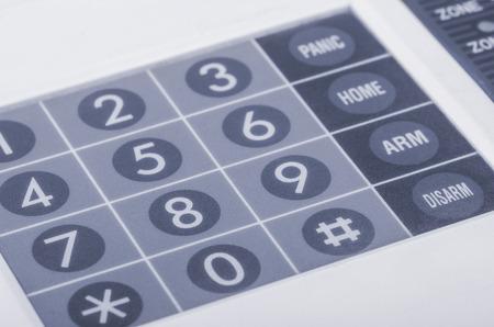 Close up of home alarm system keypad