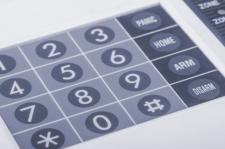 Close up of home alarm system keypad