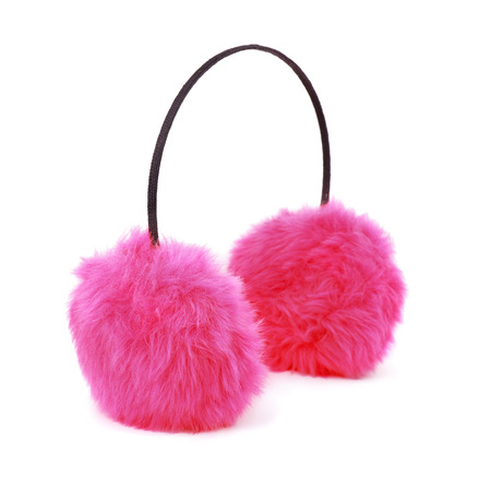 fluffy ears: Pink winter fur earmuffs isolated on white Stock Photo