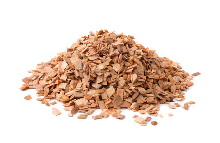 Pile of wood smoking chips isolated on white