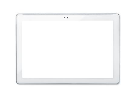 Vooraanzicht van tablet-pc op wit wordt geïsoleerd Stockfoto