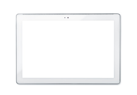 Front view of tablet PC isolated on white