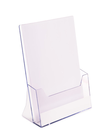 Acrylic brochure holder isolated on white Stok Fotoğraf