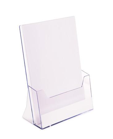 Acrylic brochure holder isolated on white Foto de archivo