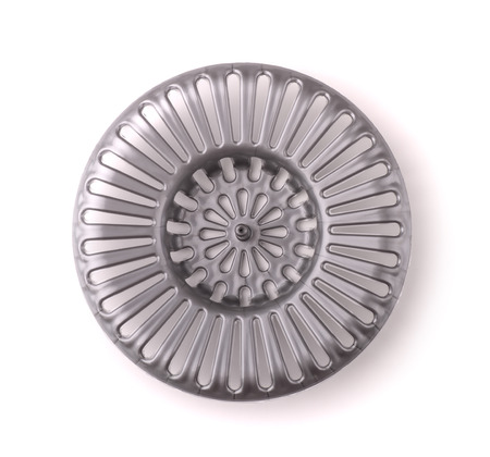 sink drain: Plastic sink drain cover isolated on white Stock Photo