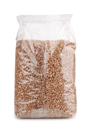 packet: Buckwheat in plastic packet isolated on white