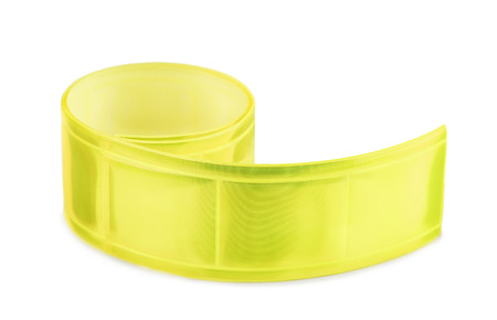 Yellow clothing reflective tape isolated on white