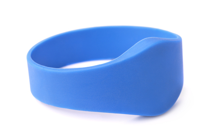 Blue silicone RFID bracelet isolated on white