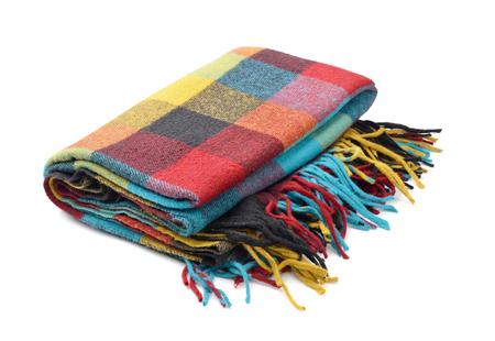 blanket: Plaid wool blanket isolated on white